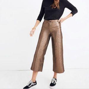 Madewell Emmett bronze wide leg crop pants 25